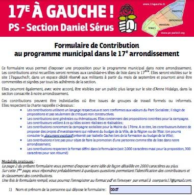 Contributions au programme municipal pour le 17ème